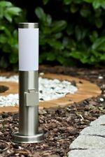 Lampadaire extérieur Borne d'éclairage avec prise Lampe de jardin en acier 30460