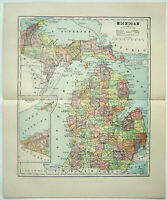 Original 1891 Map of Michigab by Hunt & Eaton. Antique
