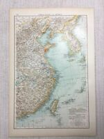 1899 Antique Map of Korea East China Taiwan Japan Asia Old 19th Century Original