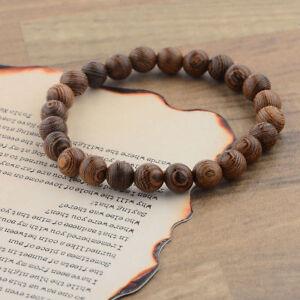 Charm Men Women 8MM Multilayer Wooden Beaded Elasticity Couples Bracelets Set