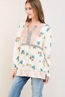 Entro Floral Print Velvet Trim Long Sleeve Top