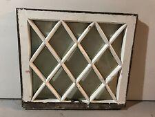 "c1900 Antique MISSION TUDOR Diamond Glass Pane Wood Window Sash 24"" x 21.5"" (A)"