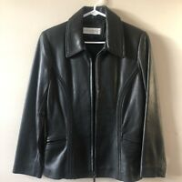 Jones New York Women's Soft Genuine Leather Jacket Sm/Petite Fitted Pockets