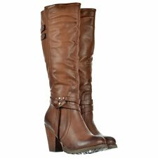 LADIES WOMENS KNEE HIGH BIKER BOOTS BLOCK HIGH HEEL STUDS BLACK BROWN TAN SIZE
