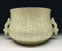 Chinese Ge-Ware 'Fishes' Censer Stoneware Figural Handled Incense