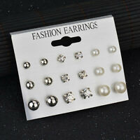9 Pairs Women Fashion Rhinestone Crystal Pearl Earring Set Ear Stud Jewelry