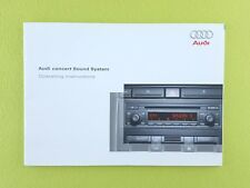 AUDI A3 8P, A4 B7, Etc. Concert Audio Owners Manual - Printed 2004