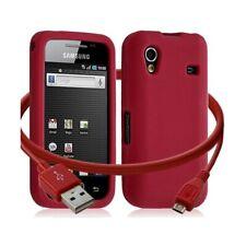 Housse étui coque silicone + Câble data USB Samsung S5830 Galaxy Ace couleur rou