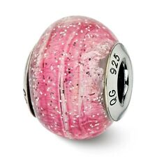 Pink & Silver Glitter Murano Glass Bead .925 Sterling Silver Reflection Beads