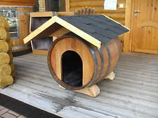 NEU 225L Faß - Hundehütte mit Dach Hundehaus Hundeschlafplatz Tierhaus Fasshütte