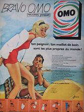 PUBLICITÉ DE PRESSE 1961 OMO LAVE TON PEIGNOIR TON MAILLOT DE BAIN - ADVERTISING