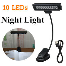 10 LED Music Stand Clamp Night Light Clip-on Bed Desk Reading Study Light Lamp