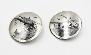 2x IRAQI SOLID SILVER BUTTONS Marsh Arab Art c1920 BOATING SCENES