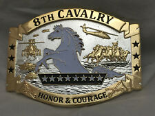 8th Cavalry Honor and Courage Army Solid Brass Belt Buckle (Q) Gold