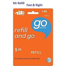 AT&T Go Phone $45 Refill, fast & right. Over 2400 sold from TRUSTED Seller!