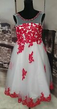 Red And White Floral Embellish Satin Ball Gown Wedding Flower Girl Dresses