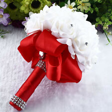 Colorful Satin Rose Wedding Bouquet Flower Rhinestone Crystal Beaded Bride Decor
