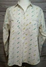 Baby On Board Womens Maternity Top Shirt Cotton Button Front White Vintage Sz 14