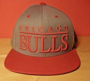NBA Chicago Bulls Snapback Cap Hat Gray / Red Mitchel & Ness NEW
