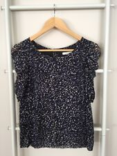 Lovely Country Road Silk Blue Leopard Print Ruched Sleeves Blouse Top Sz XS EUC