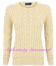 Womens Polo Ralph Lauren Ladies Crew Neck Julianna Cable Knit Jumper Sweater S Brown