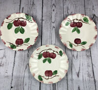 3 Blue Ridge Southern Pottery Hand Painted Beaded Crab Apple Saucer Plates 6""