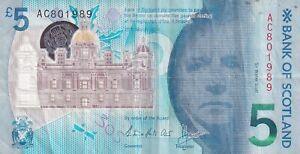 Bank of Scotland £5 Five Pounds 2016