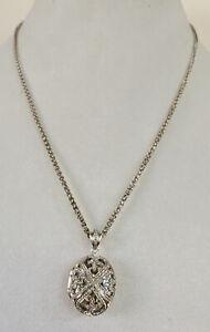 Pierced Sterling and Diamond Edwardian Revival Locket Pendant - 925 Silver