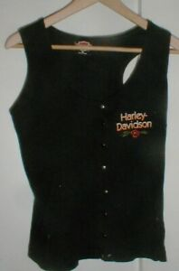 Women's Harley-Davidson Motorcycle Black Sleeveless Tank 8-Snap Shirt w/Rose