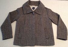 GAP Black and Beige Striped Heavy Winter Coat With Fold Over Size 4