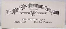 Vintage Ink Blotter Advertising Hartford Life Insurance Co Necedah Wis Novotny
