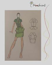 Artists Original Colored Fashion Designs Pencil Sketch Drawing Wedding Gown