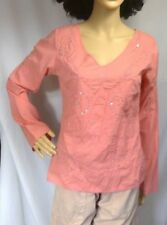Quizz Vintage womens blouse tunic beaded embroidered peach v-neck vents women M