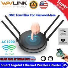 Wavlink 1200Mbps Smart WiFi Router Touchlink 2.4G&5G Dual-Band Gigabit Ethernet