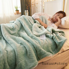 Green Fleece Blankets Throws Thick Warm Winter Blankets Home Super Soft Duvet