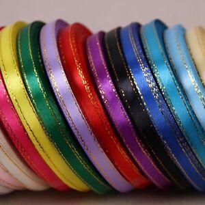5yds (4.57m) 6mm Gilt Edged Many Colours Satin Ribbon Craft gold Wedding #449