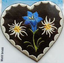BROWN HEART WITH FLOWERS IRON ON APPLIQUE MOTIF PATCH, BRAND NEW