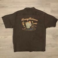 Tommy Bahama Mens Embroidered Silk Camp Shirt Brown Cocktail Mirage Size M