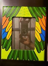 "Unique Original Hand Painted Colorful Bird Feathers Picture Frame 6 1/4""x 4 1/2"""