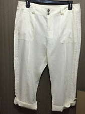 BNWT Womens Sz 18 Autograph Cream Linen Blend 3/4 Crop Lace Trim Pants RRP $60