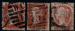 Great Britain QV 3 different Perfins.