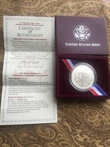1996 Atlanta Olympiad High Jump Commemorative Uncirculated Silver Dollar