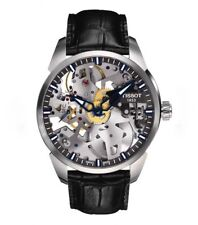 Tissot T-Complication Squelette Skeleton Dial Black Leather Mens Watch - 43mm