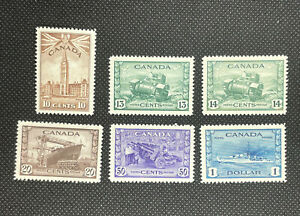 1943 Canada Stamp Set #257-262 King George VI War Issue Mint Lightly Hinged