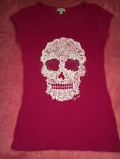 GUESS SEXY FITTED LACESKULL PINK T-SHIRT TOP CAP SLEEVE M MEDIUM