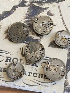 VINTAGE ROLEX PARTS MOVEMENTS Lot Of 6 15-17J Swiss Made Repair as is genuine !!