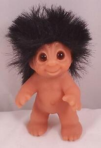 "Vintage 80s Dam Norfin 3.5"" Baby Newborn Infant Troll Doll Black Hair Standing"