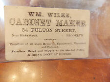 RARE Civil War Era Brooklyn New York Business Card WM WILKE CABINET MAKER