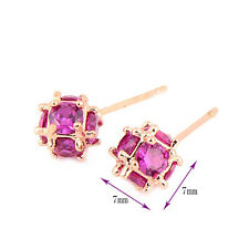Korean Jewelry 7mm Magic Ball Rose Gold Plated Fashion Red Ruby Stud Earrings