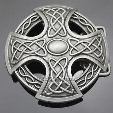 Western Cowboy Silver Celtic Trinity Knot Cross Rodeo Belt Buckle Line Dance H6